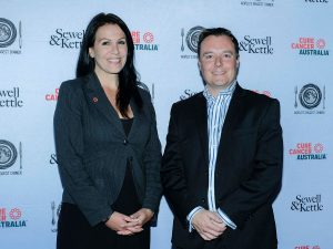Nikki Kinloch CEO Cure Cancer Australia and Ben Sewell principal of Sewell & Kettle lawyers
