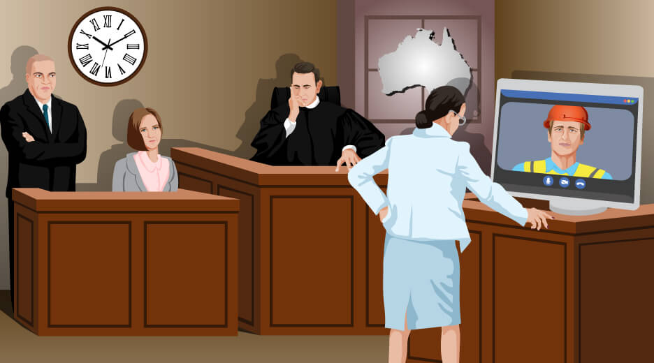 The image shows a scene from the court with the man examination by videoconference